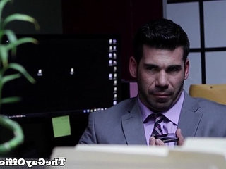Muscled businessman assfucked by hunky stud
