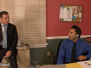 Amazing gay fucking buttranssexual in the office