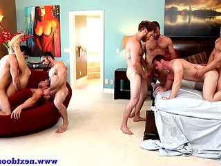 Hot hunks in group orgy fucking taut ass crevice