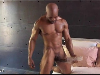 black homo muscle hunk masturbate his macho big hard-on