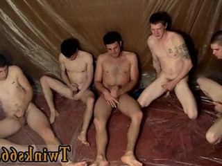 Gay clip of The studs are gathering around and jacking off over him